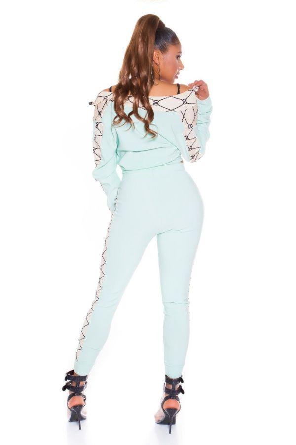 athletic gym set jacket leggings turquoise.