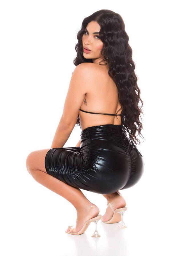 skirt vinyl high waist black.