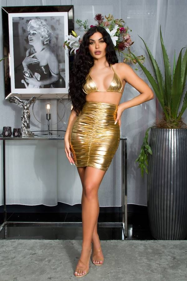 skirt vinyl high waist gold.