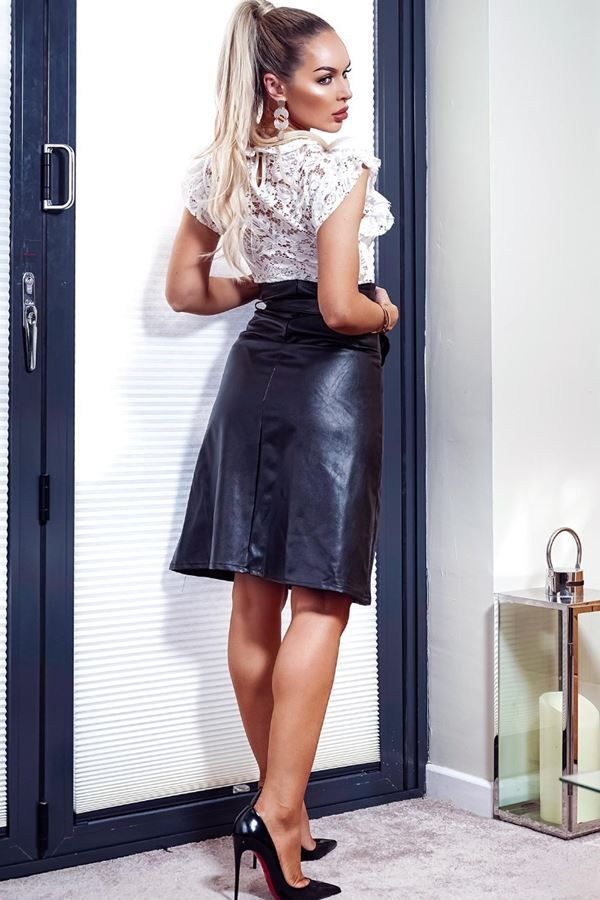 SKIRT LEATHERETTE A LINE BLACK CAT20WANTA