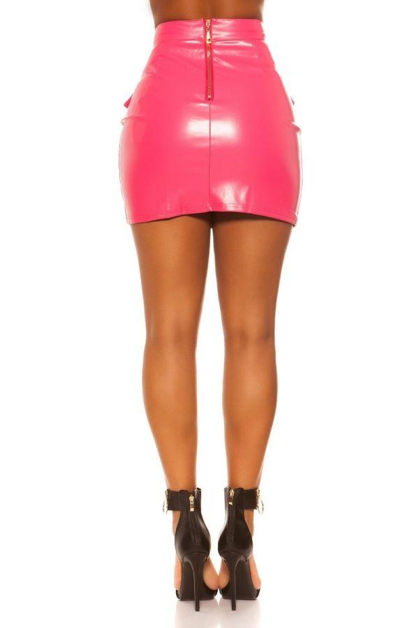 φούστα φερμουάρ δερματίνη ροζ.