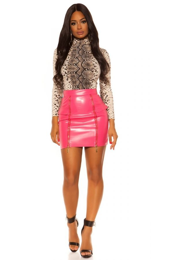 SKIRT ZIP LEATHERETTE PINK ISDSR20248
