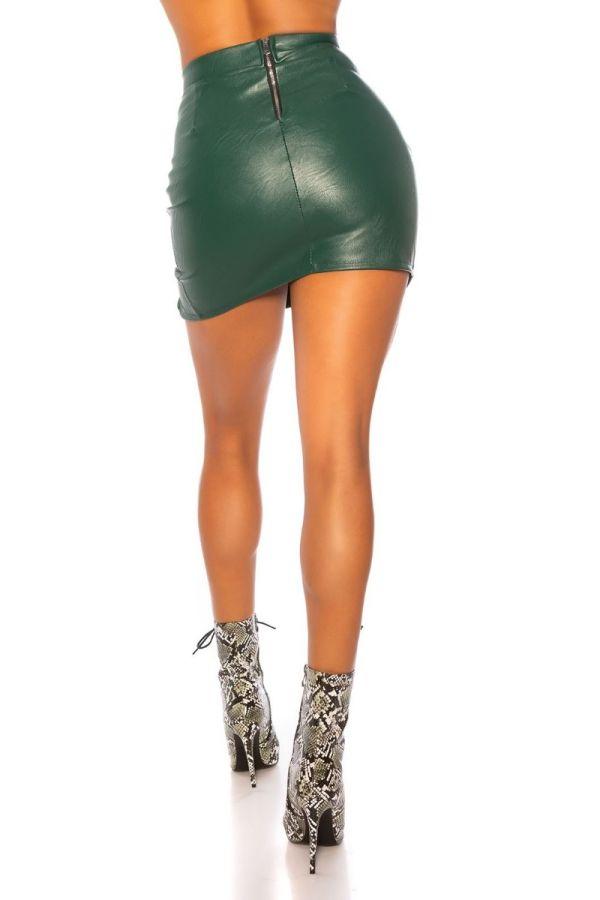 φούστα δερματίνη σκίσιμο πράσινη.
