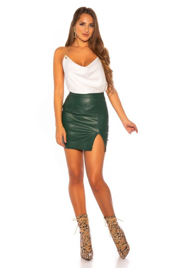 SKIRT LEATHERETTE SLIT GREEN ISDR65100
