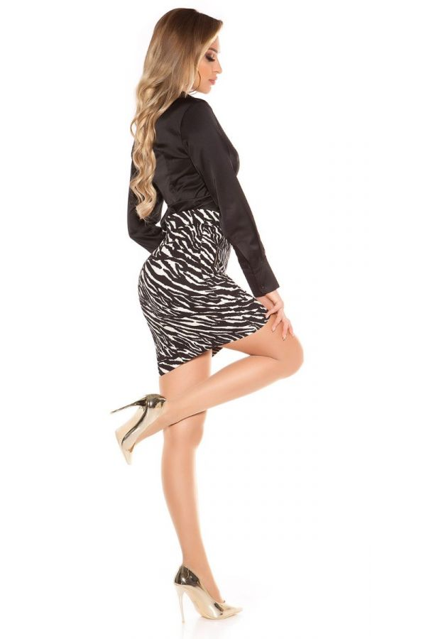 SKIRT SHORT ZIP ZEBRA WHITE BLACK ISDFS60538