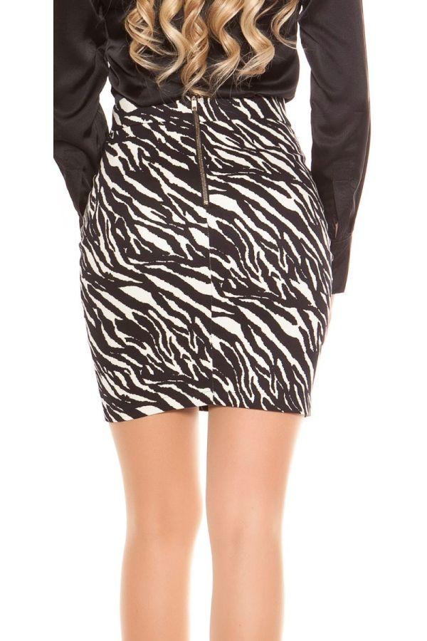 φούστα κοντή φερμουάρ ζέβρα άσπρη μαύρη.