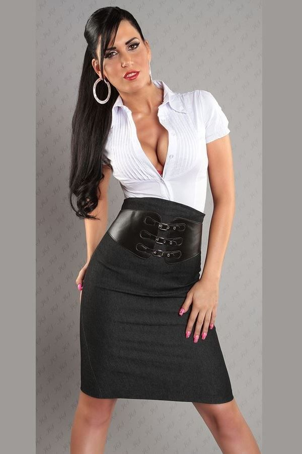 SKIRT PENCIL BELT JEANS BLACK ISDF2234