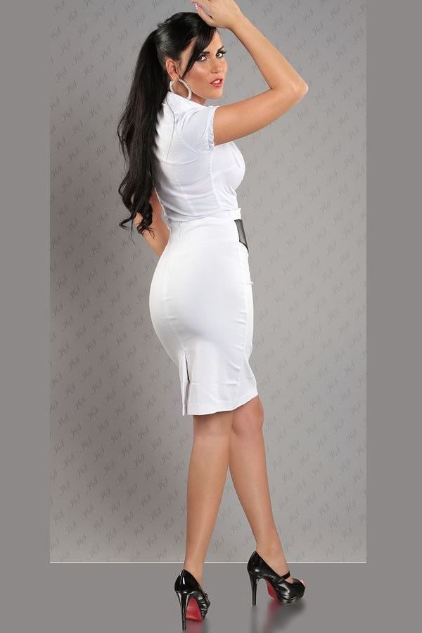 SKIRT PENCIL BELT WHITE ISDF2234
