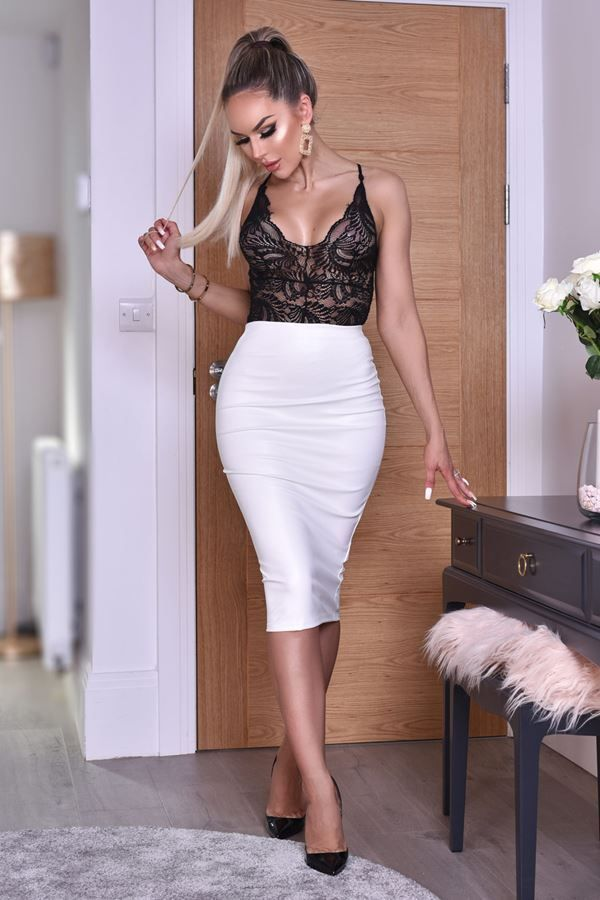 SKIRT MIDI LEATHERETTE IVORY CAT20WKEL
