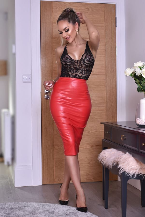 SKIRT MIDI LEATHERETTE RED CAT20WKEL