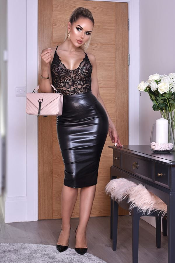SKIRT MIDI LEATHERETTE BLACK CAT20WKEL