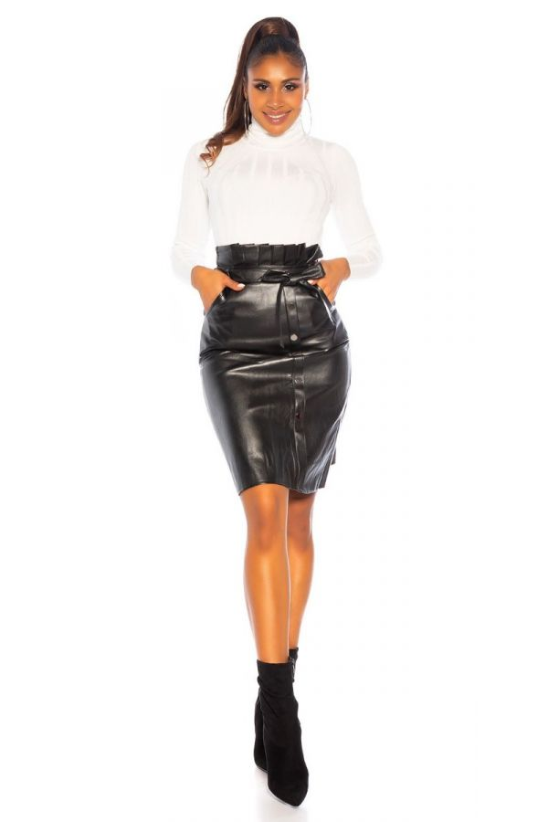 SKIRT MIDI LEATHERETTE BLACK ISDR81111