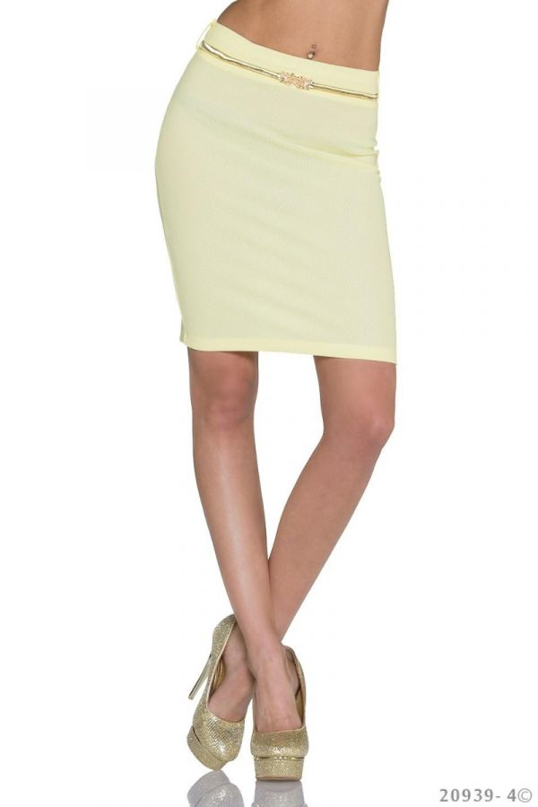 SKIRT MIDI GOLD BELT YELLOW Q1520939