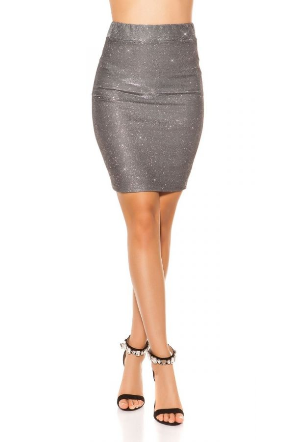 SKIRT PENCIL GLITTER GREY ISDR11132