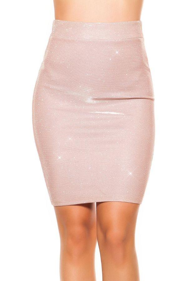 pencil ροζ φούστα διακοσμημένη με γκλιτερ.