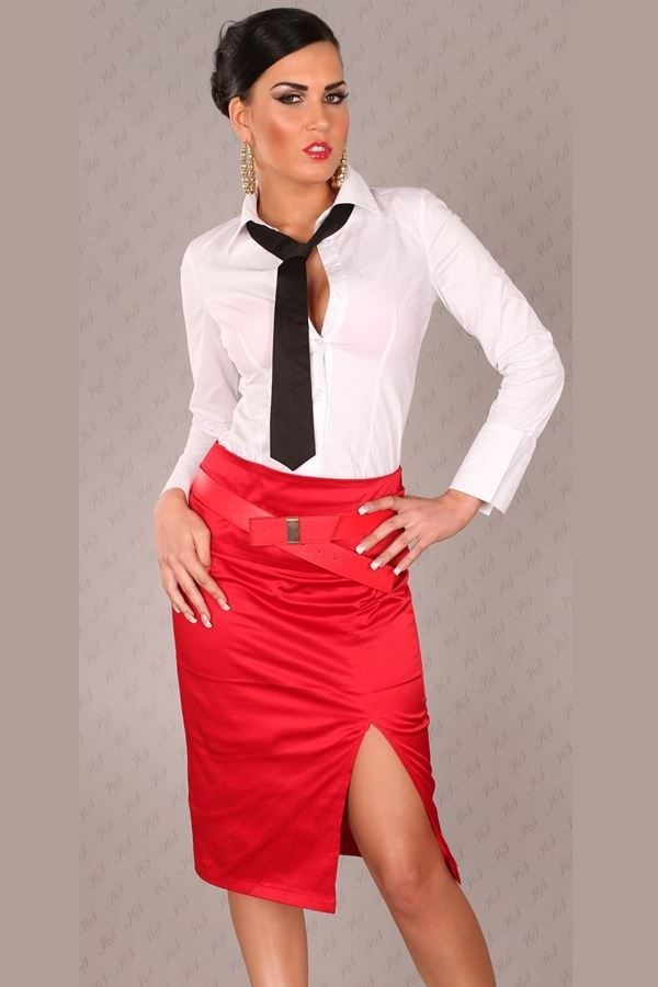 SKIRT PENCIL BELT SATIN RED ISDFS17032