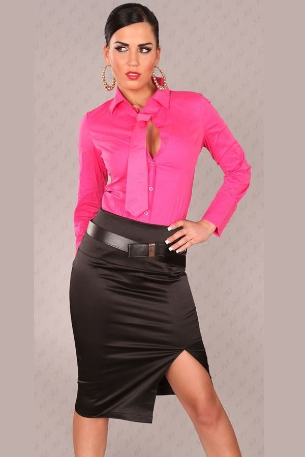 SKIRT PENCIL BELT SATIN BLACK ISDFS17032