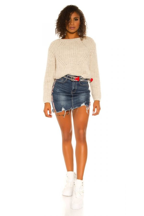 SKIRT JEAN SHORT USED ZIP BLUE ISDS29291