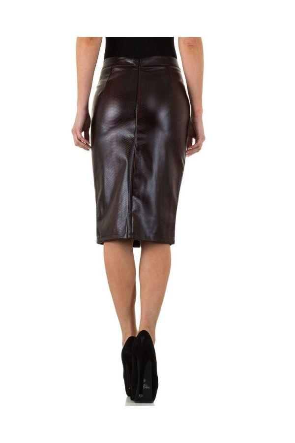 croco δερματίνη μπορντό-μαύρο φούστα κάτω από γόνατο με σκίσιμο μπροστά.