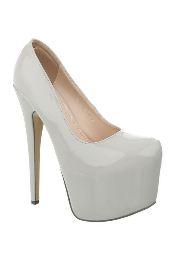 FSW00071 PUMP HIGH HEEL PATENT LIGHT GREY