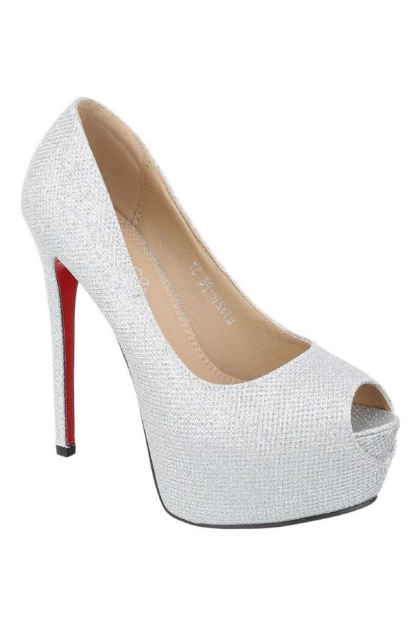 FSW132111 PEEP TOE PUMPS BRIDAL SATIN SILVER