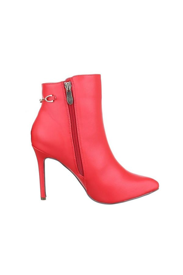 ANKLE BOOTS POINTED GOLDEN DECORATION RED FSW133222