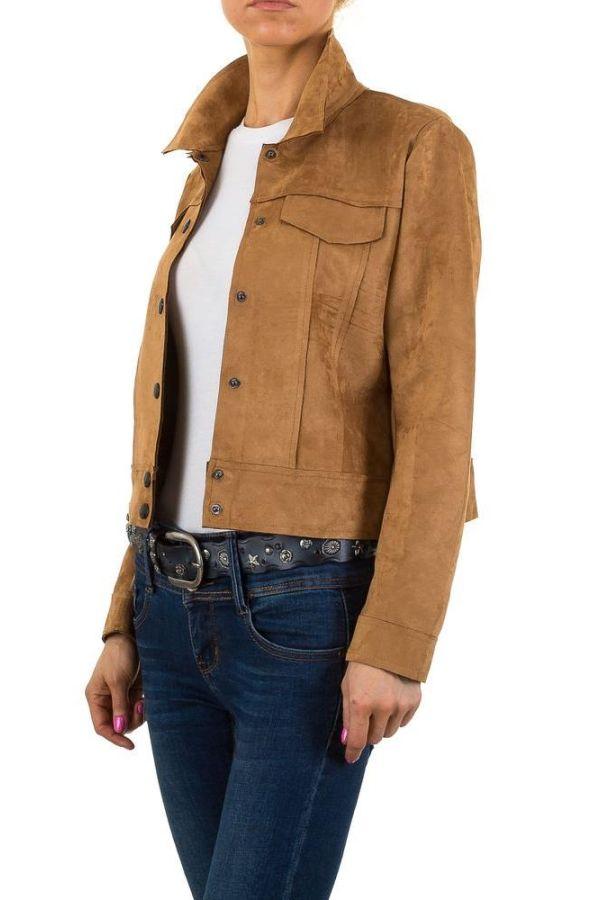 γυναικείο μπουφάν τύπου suede με κουμπιά καμελ