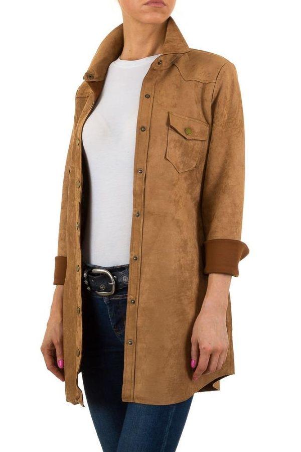 γυναικείο μακρύ πουκάμισο τύπου suede με κουμπιά καμελ
