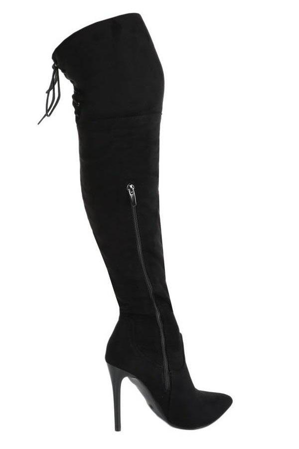 ψηλές σουέντ μπότες πάνω από το γόνατο με φερμουάρ μαύρες.