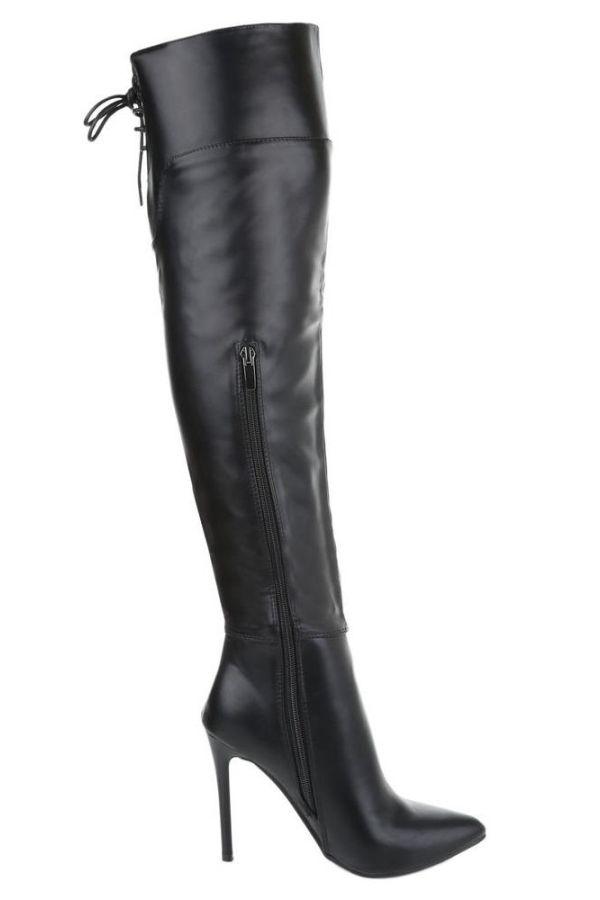 μπότες γόνατο λεπτό τακούνι μαύρες.