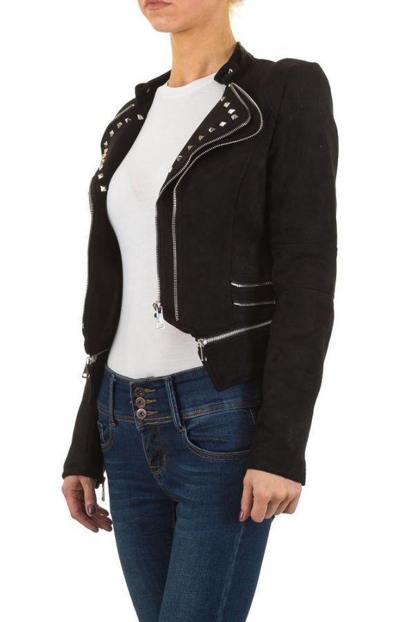 γυναικείο μπουφάν με φερμουάρ και καρφιά μαύρο