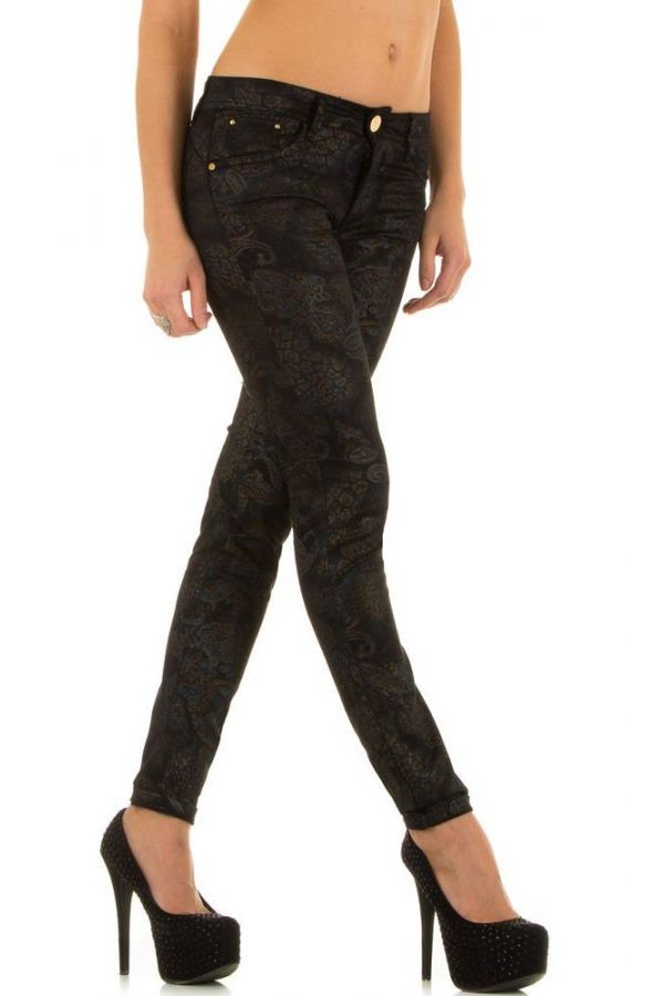 womens pants in paisley design and five pockets multicolour