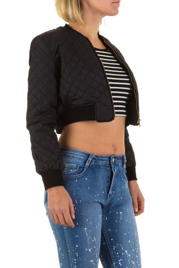 γυναικείο κοντό μπουφάν με χρυσαφί φερμουάρ μαύρο