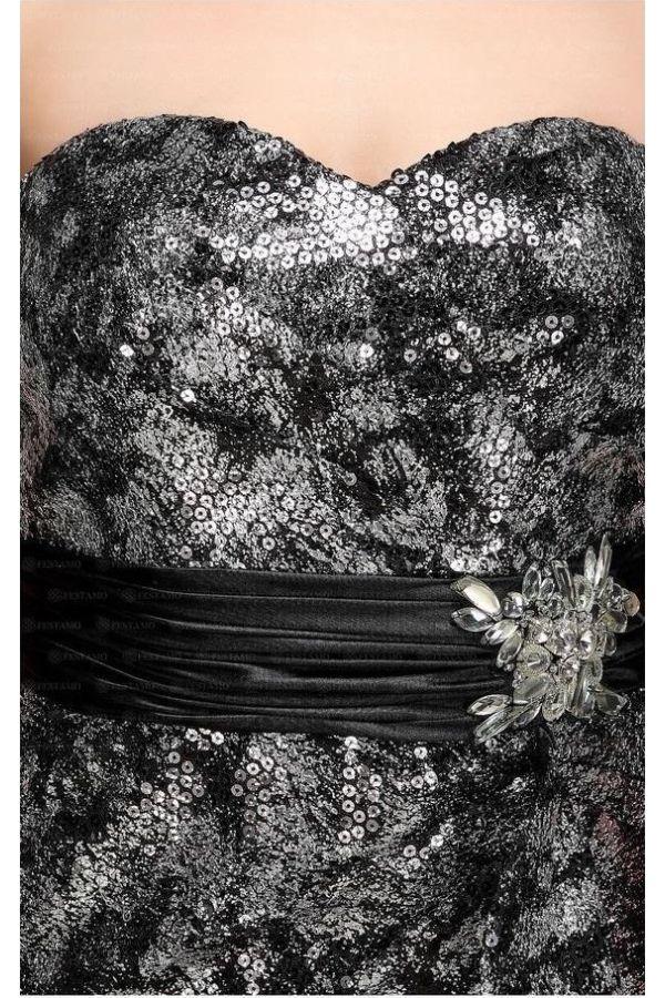επίσημο βραδινό στράπλες μακρύ φόρεμα καλυμμένο όλο με παγιέτες διακοσμημένο με πέτρες πλαϊνό σκίσιμο ασημί μπορντό