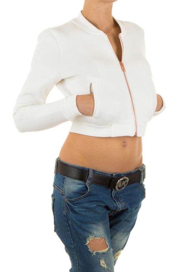γυναικείο κοντό μπουφάν με χρυσαφί φερμουάρ άσπρο