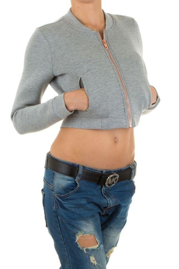 γυναικείο κοντό μπουφάν με χρυσαφί φερμουάρ γκρι