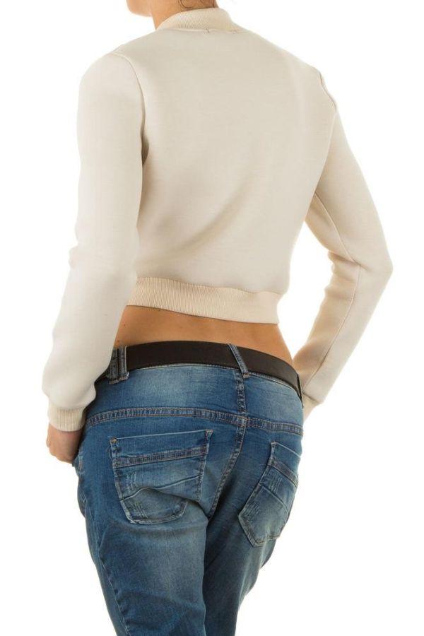 γυναικείο κοντό μπουφάν με χρυσαφί φερμουάρ μπεζ