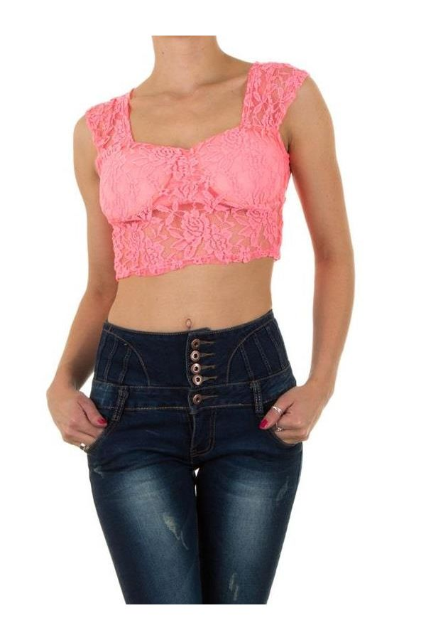 FSWJ8581 TOP SLEEVELESS LACE NEON CORAL