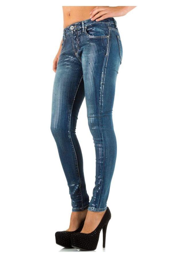 παντελόνι τζιν μπλε γυαλιστερό μπροστά εντυπωσιακό