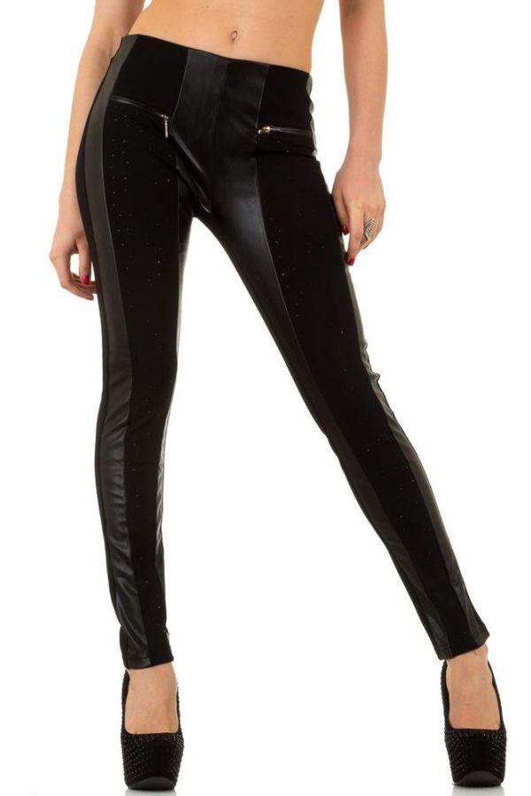 γυναικείο παντελόνι με δερματίνη πάνελ και φερμουάρ μαύρο