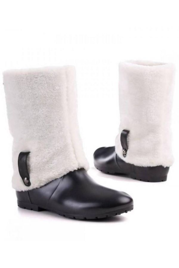 wellies ankle boots white fur black.