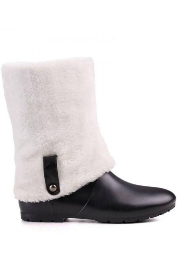 WELLIES ANKLE BOOT WHITE FUR BLACK SW2518