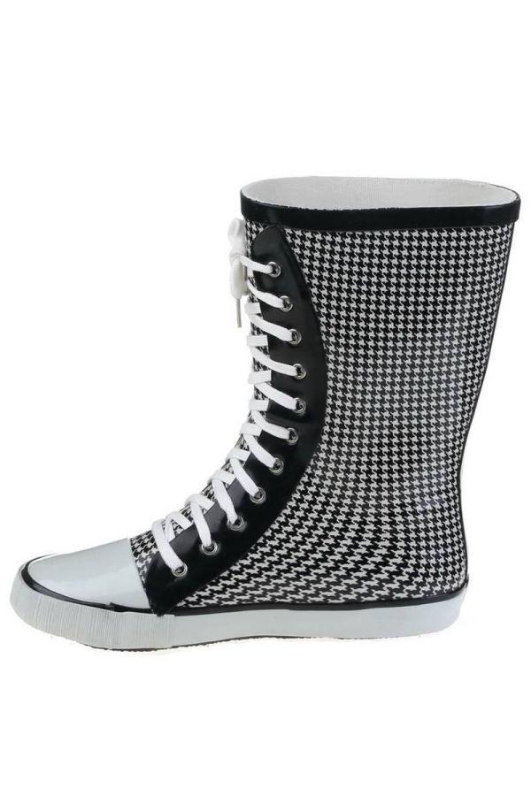 wellies rain boots pie de poule black white.