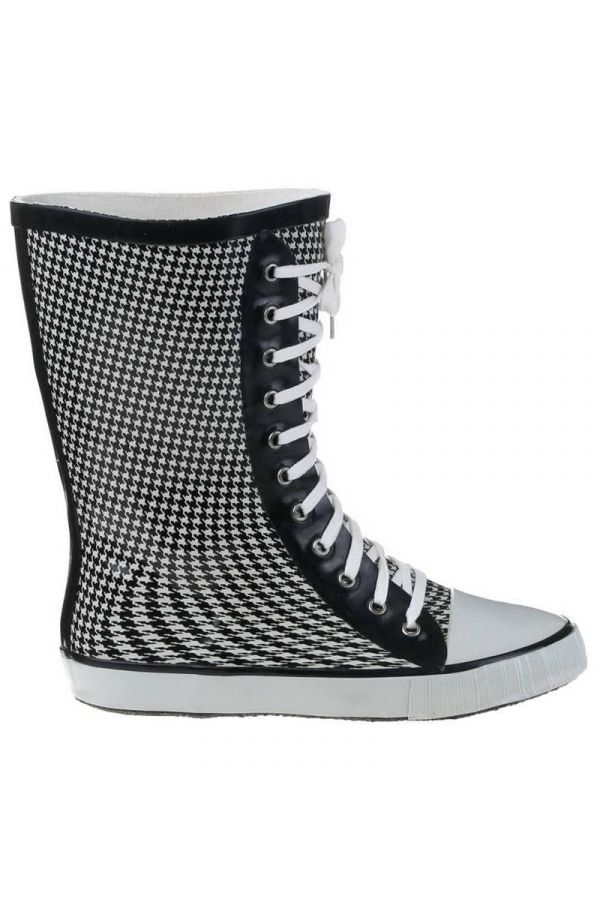 WELLIES RAIN BOOTS PIE DE POULE MOTIF BLACK WHITE SW201107