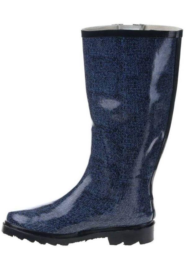 wellies rain boots jean motif blue.