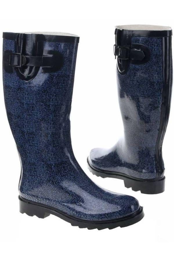 WELLIES RAIN BOOTS JEAN MOTIF BLUE SW20111