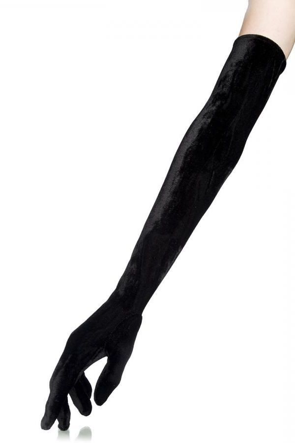 GLOVES LONG ELBOW VELVET BLACK DAT1912142