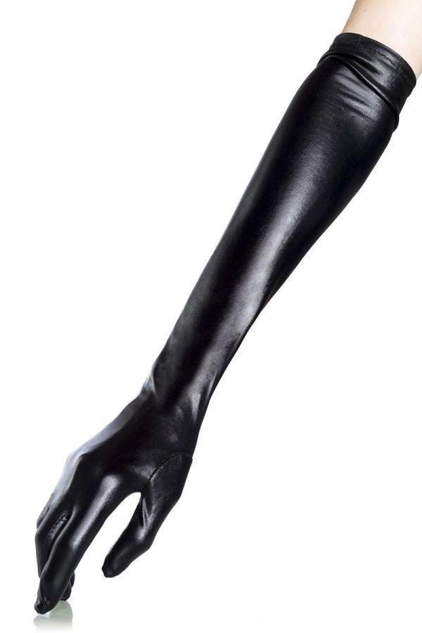 γάντια μακριά αγκώνα wetlook μαύρα.
