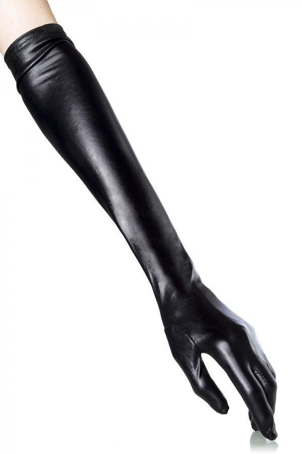 GLOVES LONG ELBOW WETLOOK BLACK DAT1911933