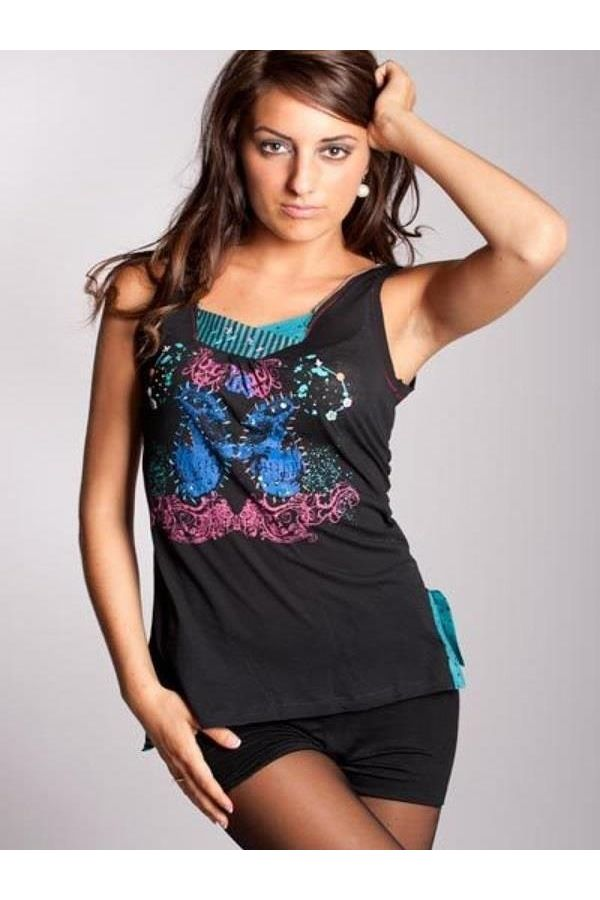 sleeveless tshirt with multicolored print black